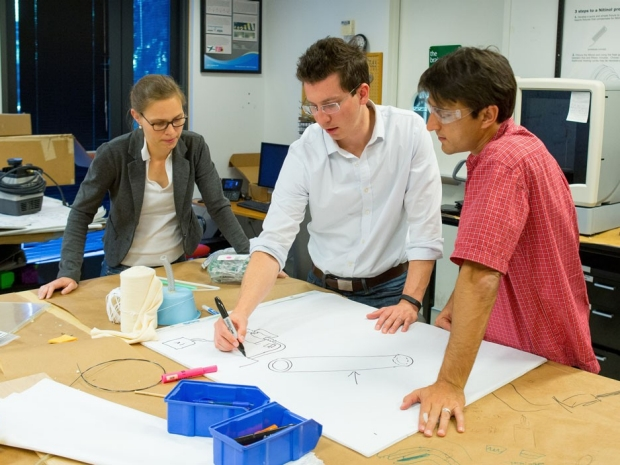 Biodesign students work together on a project