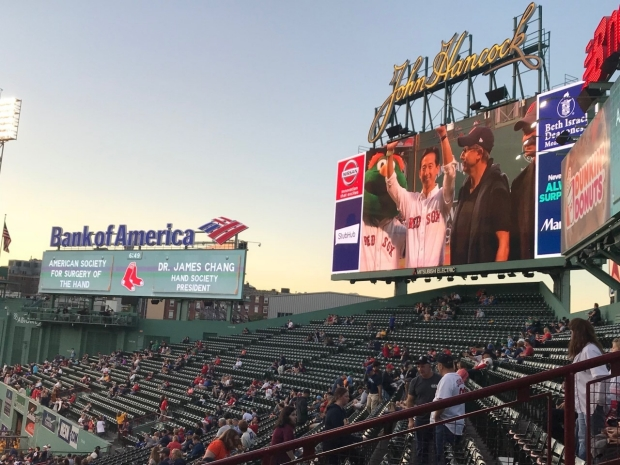 Dr. Chang on the jumbotron at Fenway