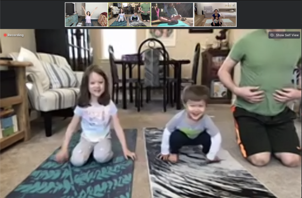 Kids and parents join Dr. Brooke Gurland for virtual yoga during the shelter-in-place.